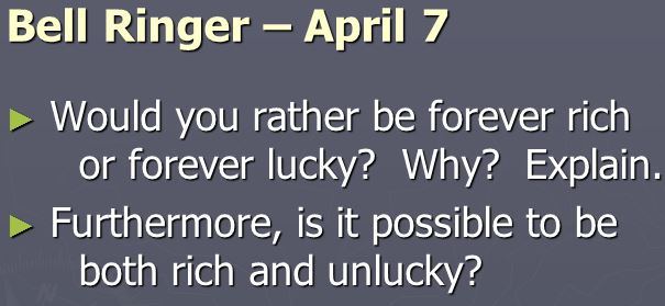 Luck or Riches?